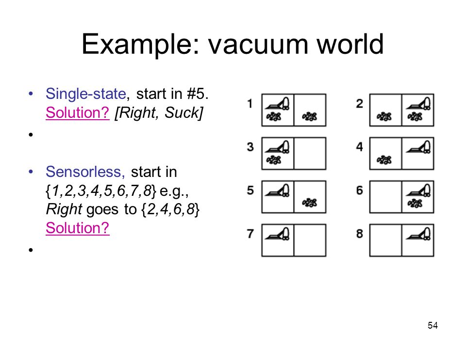 Example: vacuum world Single-state, start in #5. Solution [Right, Suck]